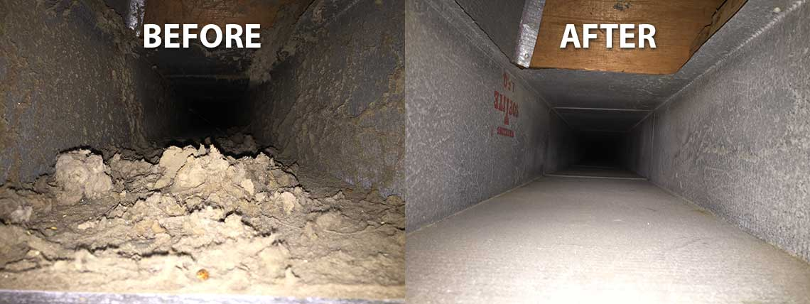 Before and After for Dryer Vent and Duct Cleaning by All Star Heating of DeKalb IL