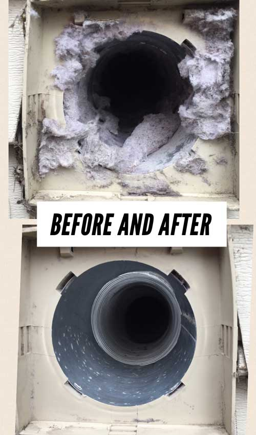 Before and After for Dryer Vent and Duct Cleaning by All-Star Heating of DeKalb IL